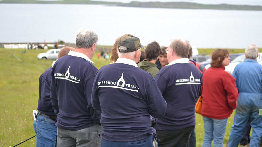 waternish farm sheepdog trials three men with shirts