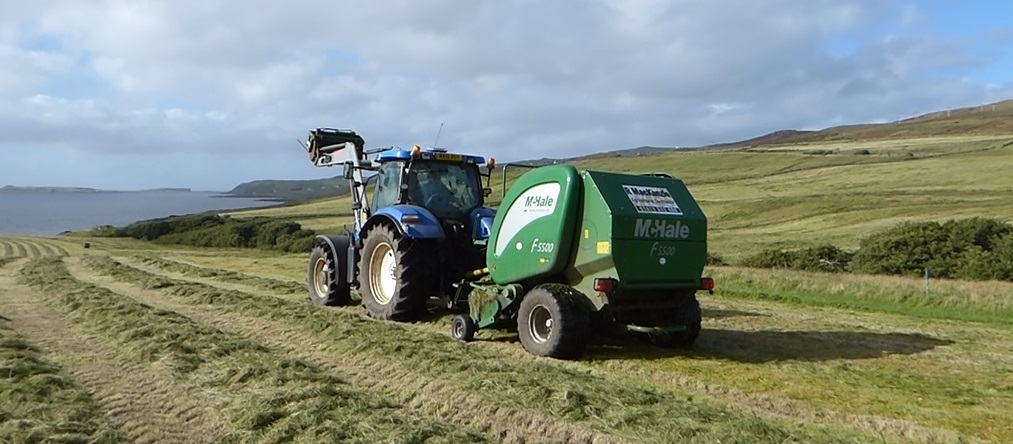 Waternish Farm silage-mowing